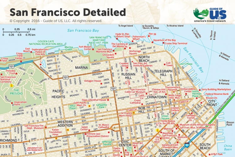 graphic regarding Printable Map of San Francisco referred to as San Francisco California Maps