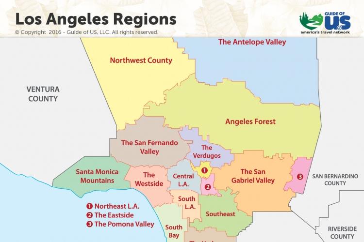 picture regarding California Regions Map Printable named Los Angeles California Maps