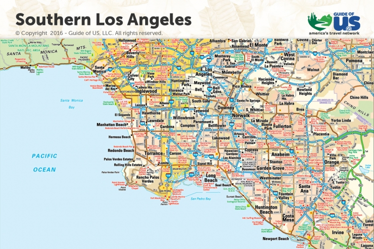 picture regarding Printable Map of Los Angeles identified as Los Angeles California Maps