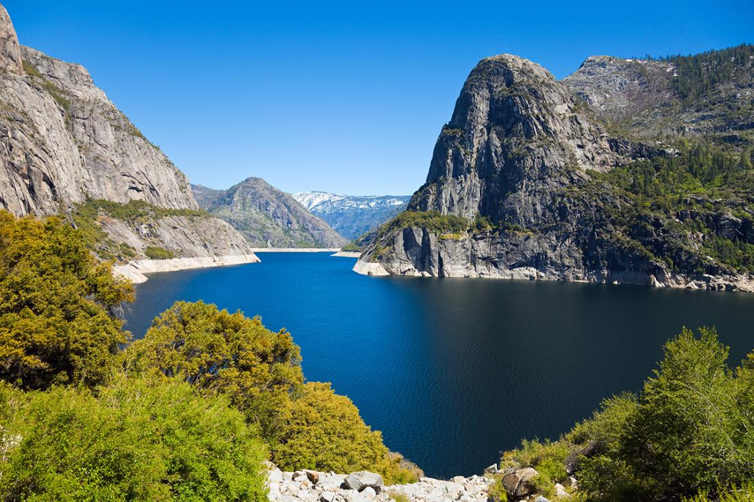 Spring view of the Hetch Hetchy Reservoir.